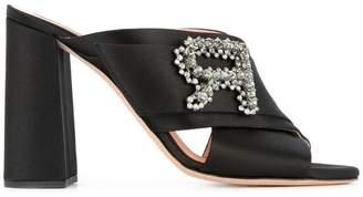 Rochas embellished strap heeled mules