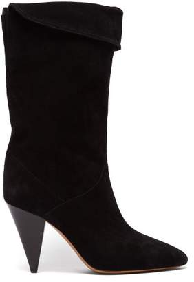 Isabel Marant Lestee Slouched Suede Slouch Boots - Womens - Black