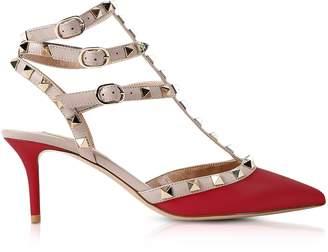 Valentino Rockstud Red Mid-Heel Ankle Strap Pumps