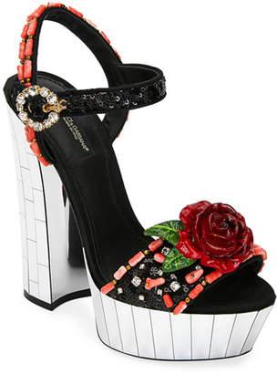 Dolce & Gabbana Embellished Mirrored Platform Sandals