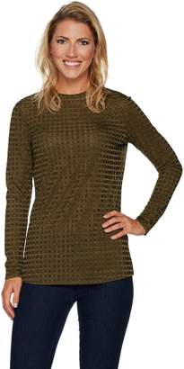 Dennis Basso Textured Rib Knit Crew Neck Top