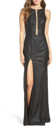 Women's La Femme Faux Leather Open Back Gown $488 thestylecure.com
