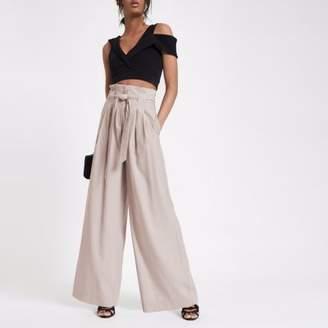 River Island Womens Pink paperbag waist wide leg pants