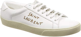 Saint Laurent Court Classic Embroidered Leather Sneaker