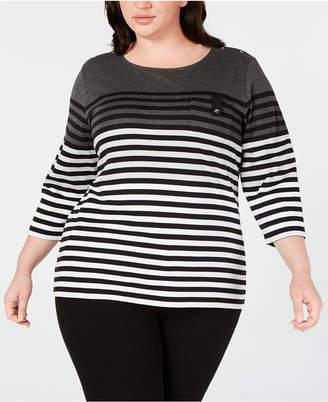 Karen Scott Plus Size Striped Pocket Top