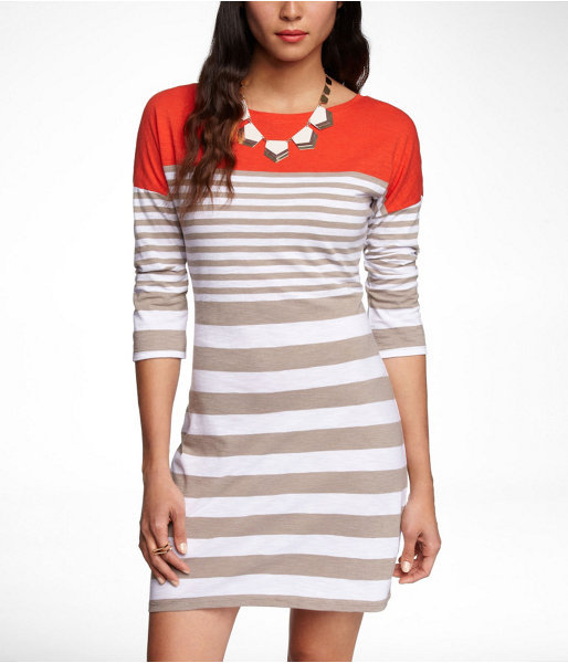 Express Mixed Stripe Drop Shoulder Slub Dress