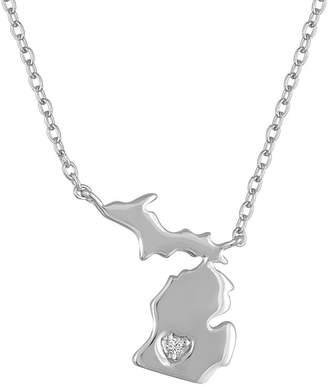 FINE JEWELRY Diamond Accent Sterling Silver Michigan Pendant Necklace