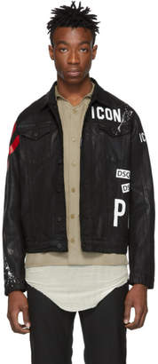 DSQUARED2 Black Denim Dan Icon Jacket