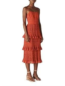 Whistles Mini Leopard Pleated Dress