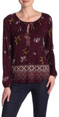 Susina Printed Long Sleeve Knit Top