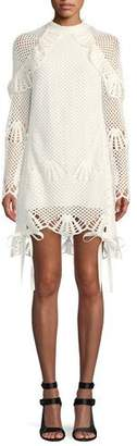 Self-Portrait Crewneck Crochet Lace Short Tunic Dress
