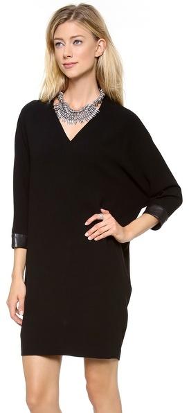 DKNY V Neck Dress with Leather Cuffs