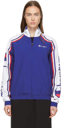 Champion Reverse Weave Blue and White Zip Jacket