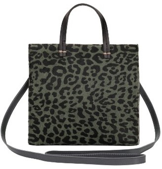 Clare V. Small Petit Simple Leopard Print Genuine Calf Hair Tote - Green $345 thestylecure.com