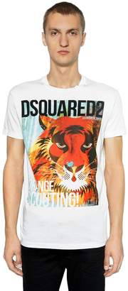 DSQUARED2 Tiger Printed Cotton Jersey T-Shirt