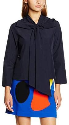 Peter Jensen Women's Neck Tie Plain Long Sleeve Shirt,Small