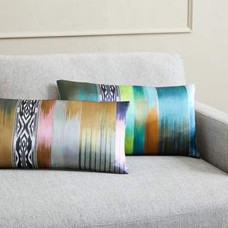 west elm Blurred Ikat Stripe Silk Pillow Covers