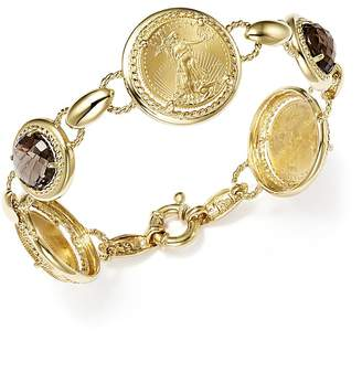 Bloomingdale's Smoky Quartz Coin Bracelet in 14K Yellow Gold - 100% Exclusive