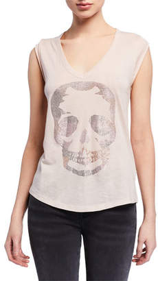 Zadig & Voltaire Brooklyn Embellished Skull V-Neck Sleeveless Tee