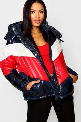 boohoo Panelled Cire Puffer Jacket