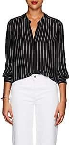 L'Agence Women's Bardot Striped Silk Blouse - Black