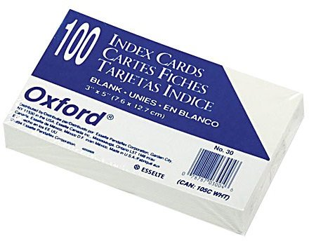 Oxford Unruled Index Cards, 3 X 5-inches