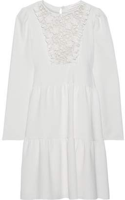 See by Chloe Lace-paneled Ruffle-trimmed Crepe Mini Dress