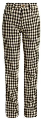 Wales Bonner - Brother Checked Slim Leg Cotton Trousers - Womens - Black Cream