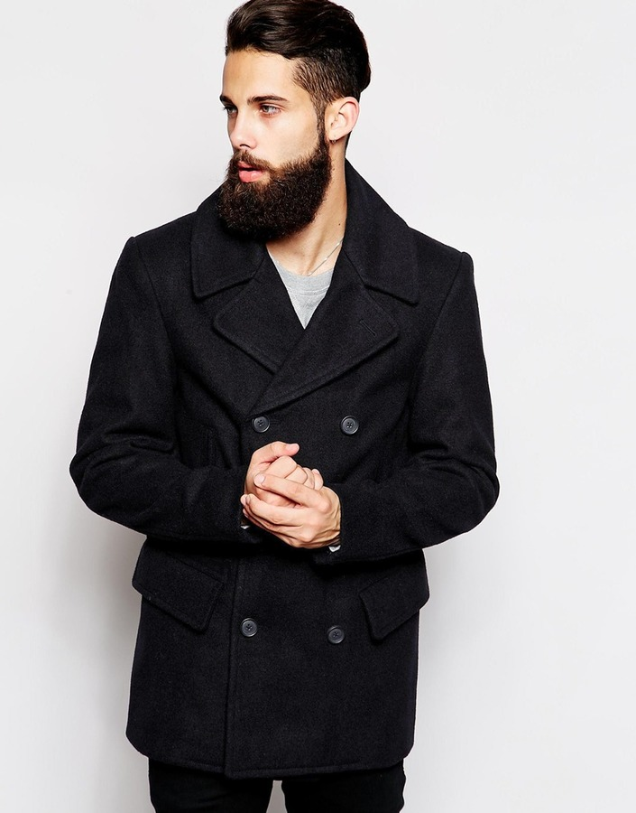 ASOS Wool Peacoat In Navy - Navy