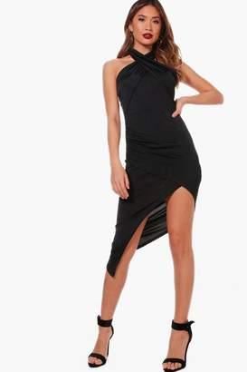 boohoo Wrap Detail Asymmetric Midi Dress