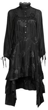 Coach 1941 Palm Tree Jacquard Handkerchief Shirtdress