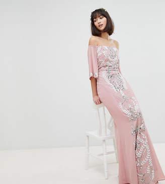 Maya All Over Embellished Bardot Maxi Bridesmaid Dress With Fluted Sleeves