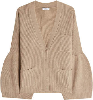 Brunello Cucinelli Ribbed Cashmere Cardigan with Voluminous Sleeves