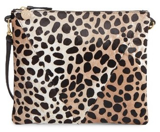 Clare V. Leopard Print Genuine Calf Hair Crossbody Bag - Green $275 thestylecure.com