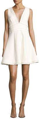 Cinq à Sept Aurora Fringe-Trim V-Neck Fit & Flare Dress, Ivory