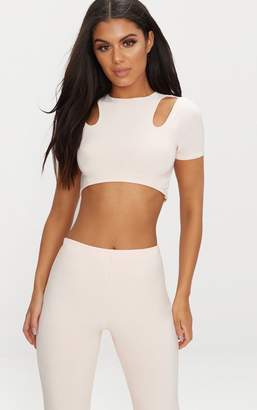PrettyLittleThing Nude Slinky Cut Out Short Sleeve Crop Top