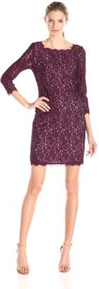 Adrianna Papell Women's Lace Cocktail Dress with 3/4 Sleeve