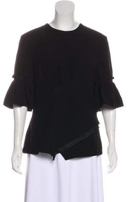 Yigal Azrouel Fringe-Trimmed Short Sleeve Top w/ Tags
