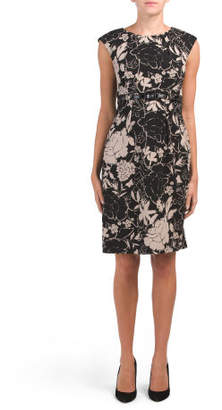 Floral Printed Crepe Dress With Belt