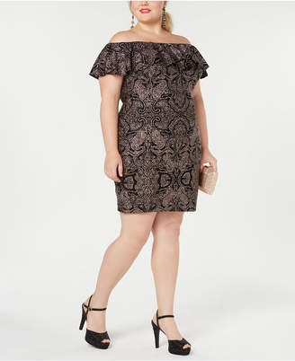 Morgan & Company Trendy Plus Size Off-The-Shoulder Lace Dress
