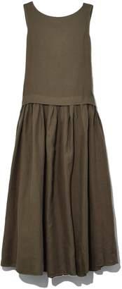 Aspesi Linen Long Sleeveless Dress in Military