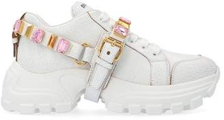 Miu Miu Embellished Strap Lace Up Chunky Sneakers
