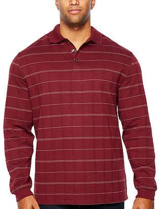 Van Heusen Ls Flex Jaspe Windowpane Polo Long Sleeve Windowpane Knit Polo Shirt Big and Tall