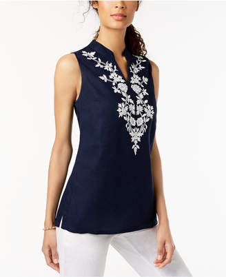 Charter Club Embroidered Linen Tunic, Created for Macy's