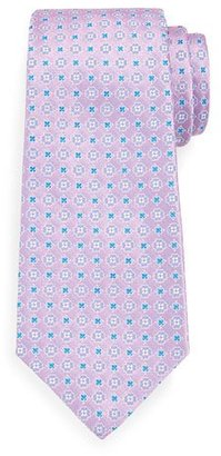 Kiton Neat Woven Flower Silk Tie, Pink $295 thestylecure.com