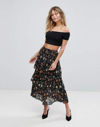New Look Floral Tiered Midi Skirt