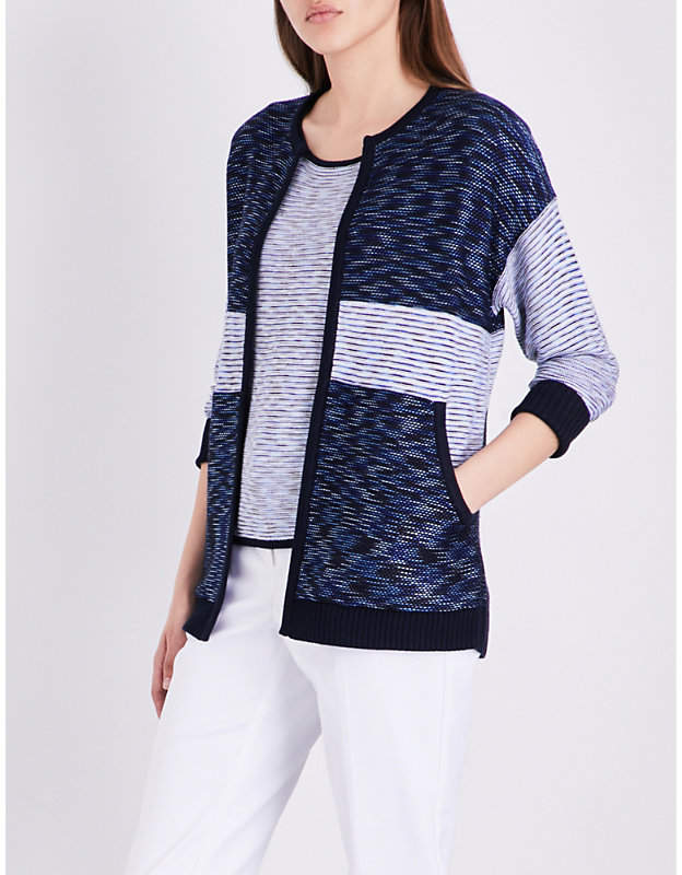 St John Chambray contrast-panel knitted cardigan