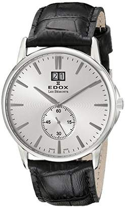 Edox LES BÈMONTS Unisex Watch BIG DATE Dial Analogue Display and Gold Leather 64012 3 Leads