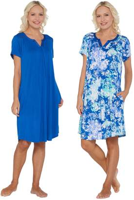 Carole Hochman Wood Block Floral Rayon Spandex Sleepshirt Set
