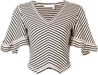 See by Chloe chevron stripe bell sleeve sweater